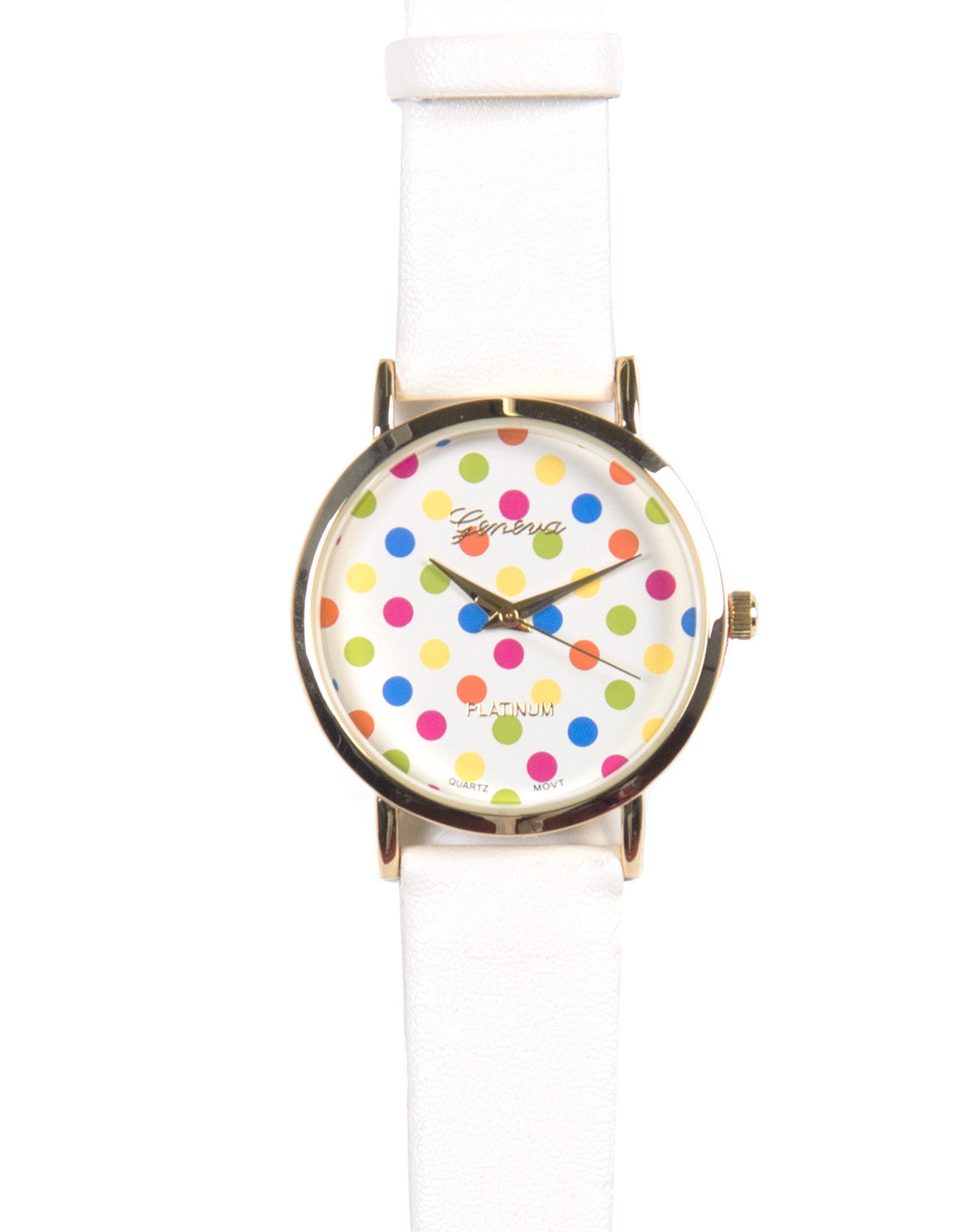 Polka Dotted Watch - White