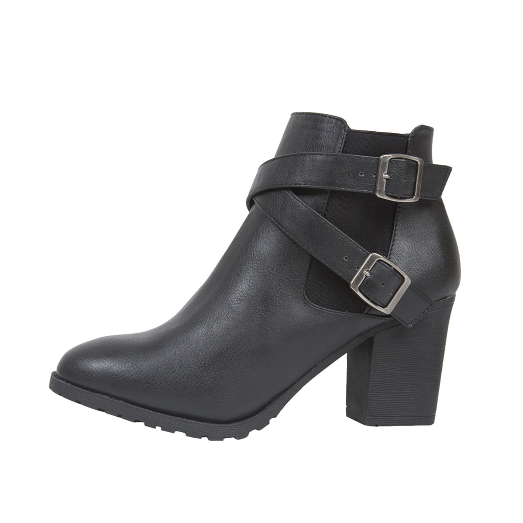 Double Strap Leather Ankle Boots - 2020AVE