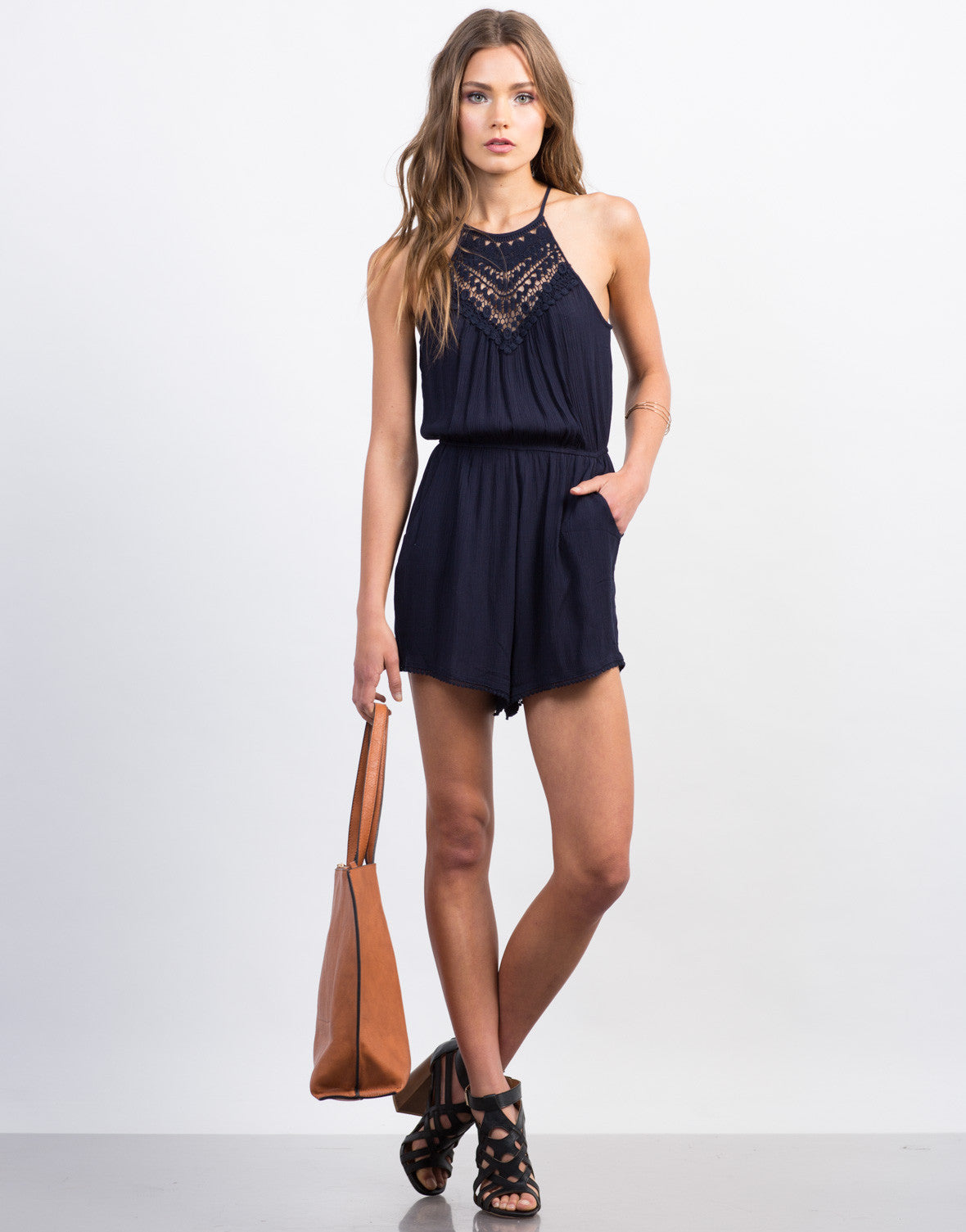 Front View of Pom Crochet Lace Romper