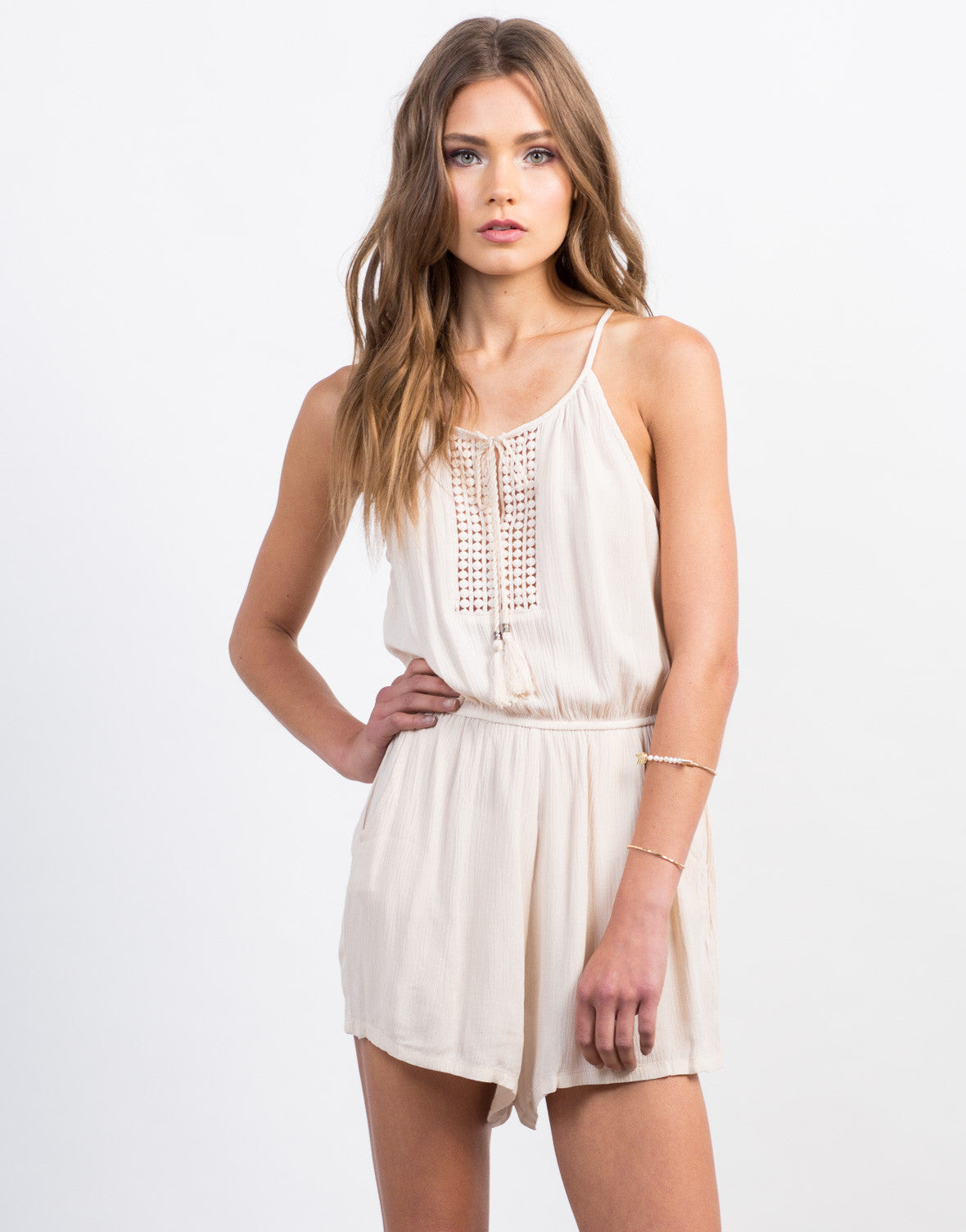 Front View of Pom Embroidered Gauze Romper