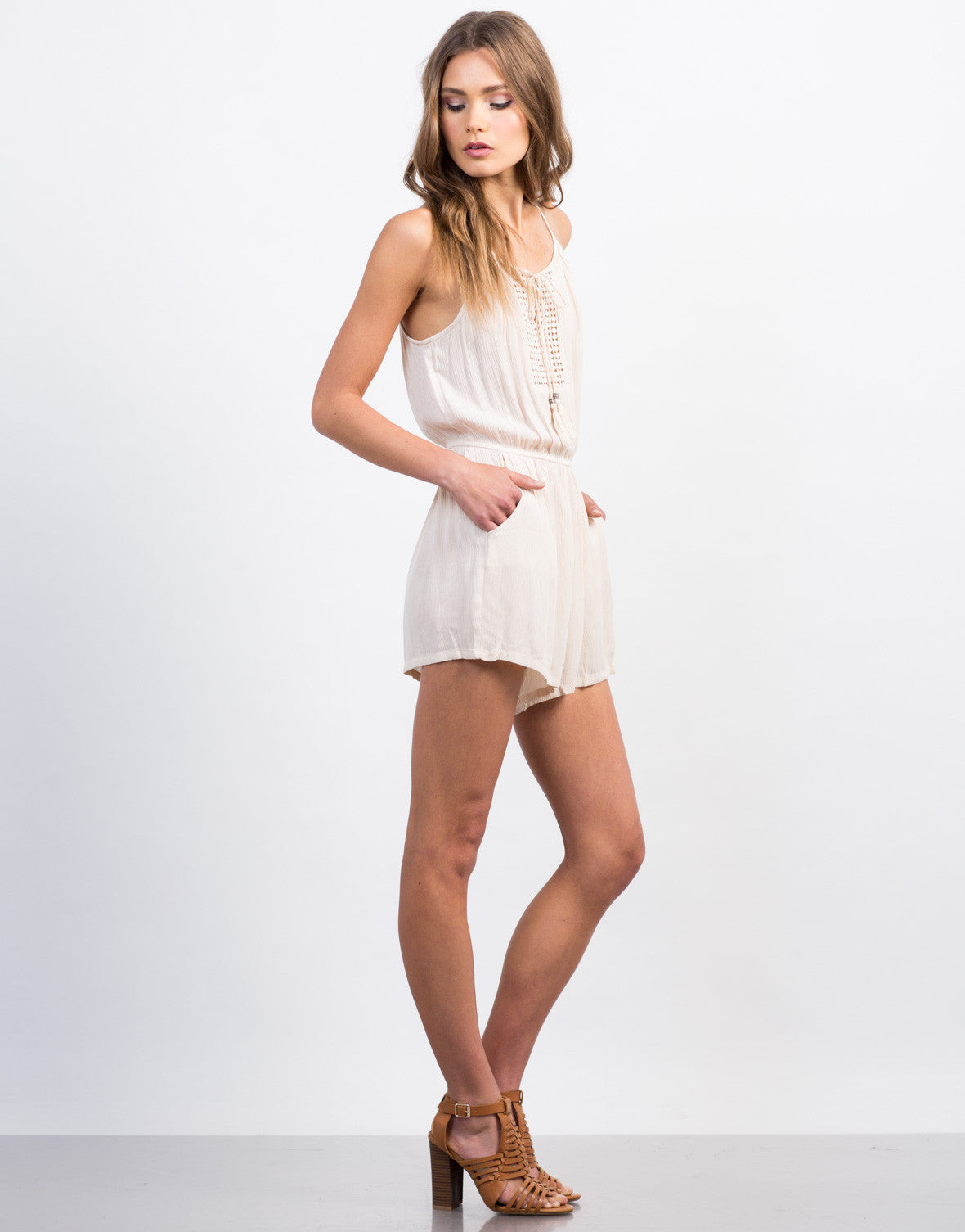 Side View of Pom Embroidered Gauze Romper