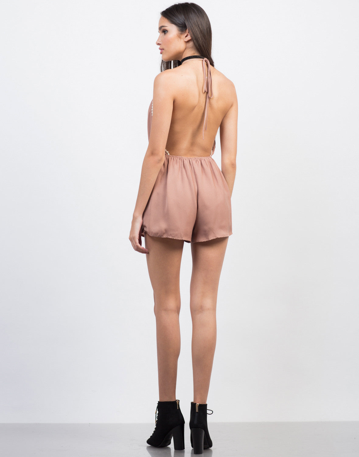 Back View of Pom Pom Halter Romper