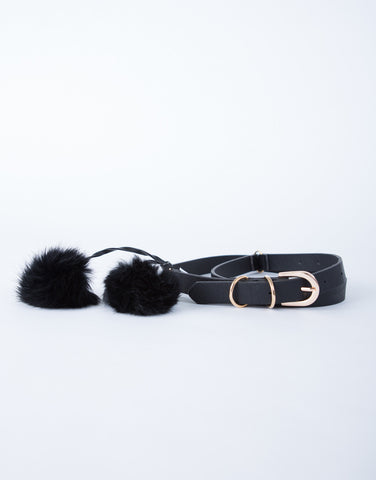 Pom Pom Leather Belt