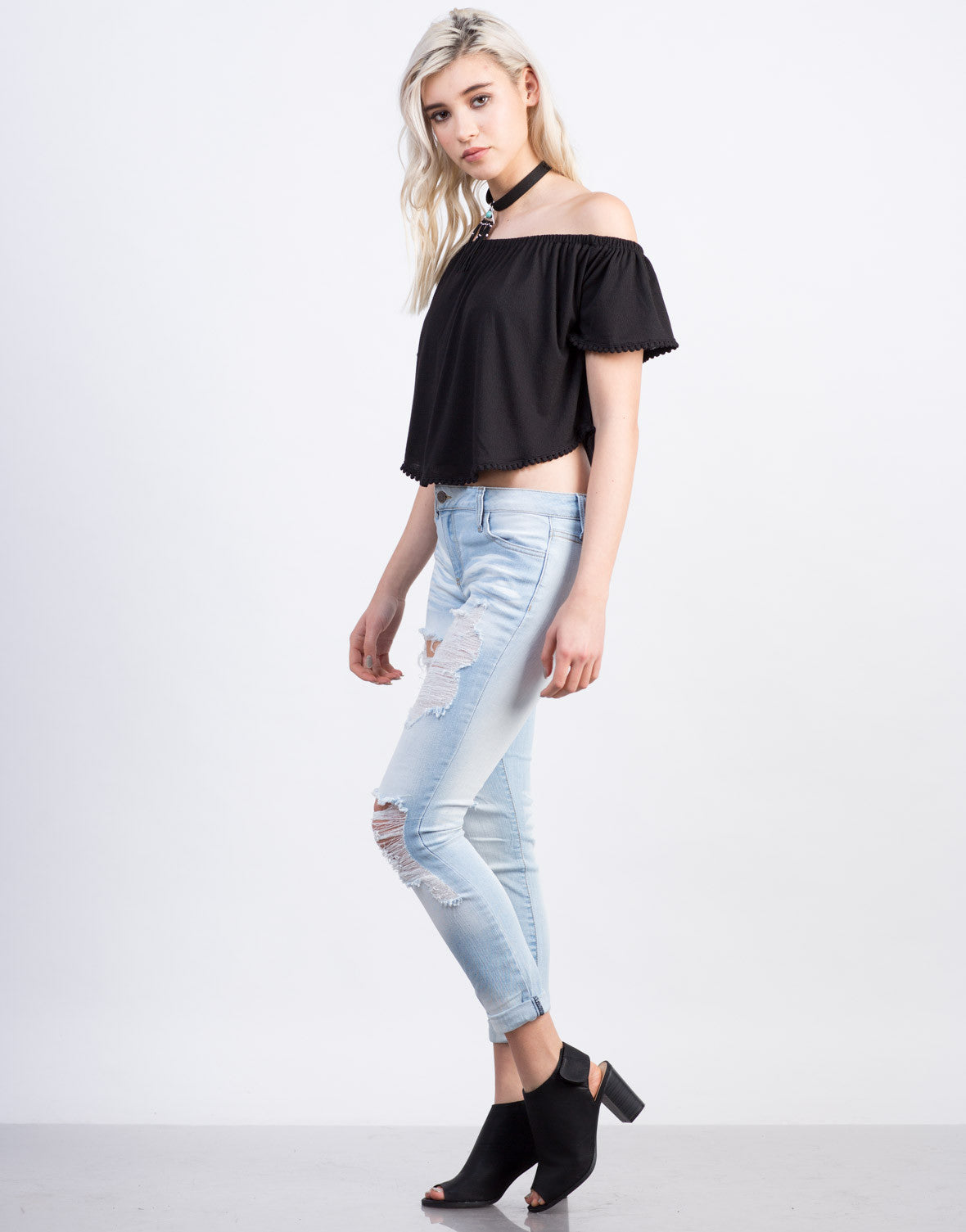 Pom Trim Off The Shoulder Top