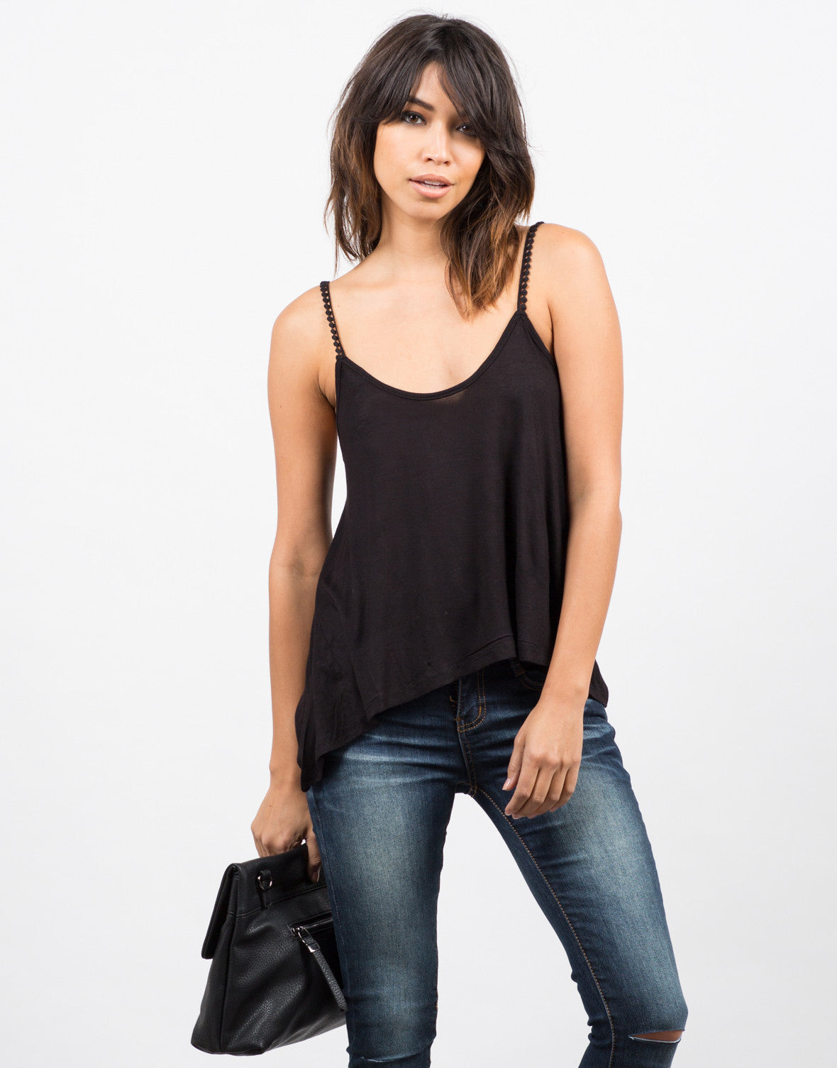 Front View of Pom Pom Strapped Cami - Black