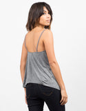 Pom Pom Strapped Cami - Gray Back View