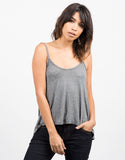 Pom Pom Strapped Cami - Gray Front View