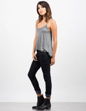 Pom Pom Strapped Cami - Gray Side View