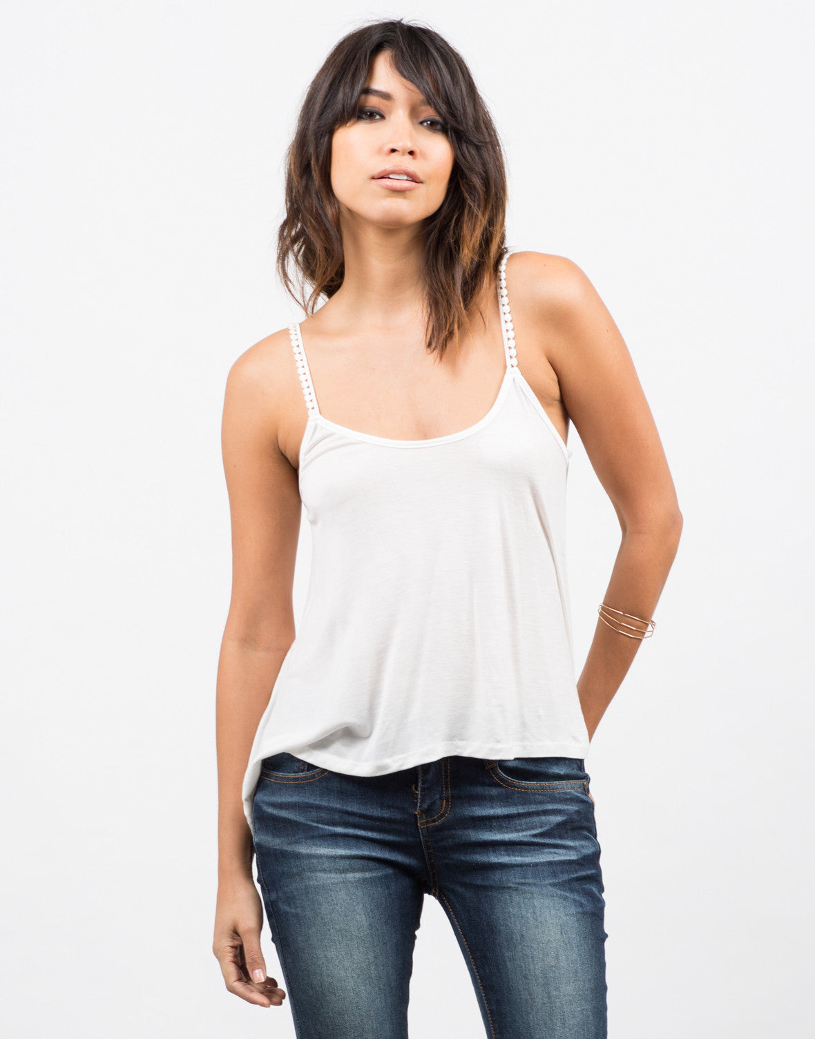 Pom Pom Strapped Cami - Off White Front View