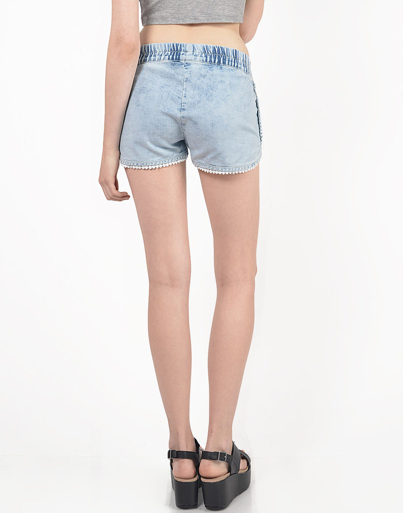 Pom Trim Denim Jogger Shorts - 2020AVE