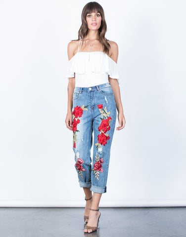 Front View of Pop of Rose Jeans