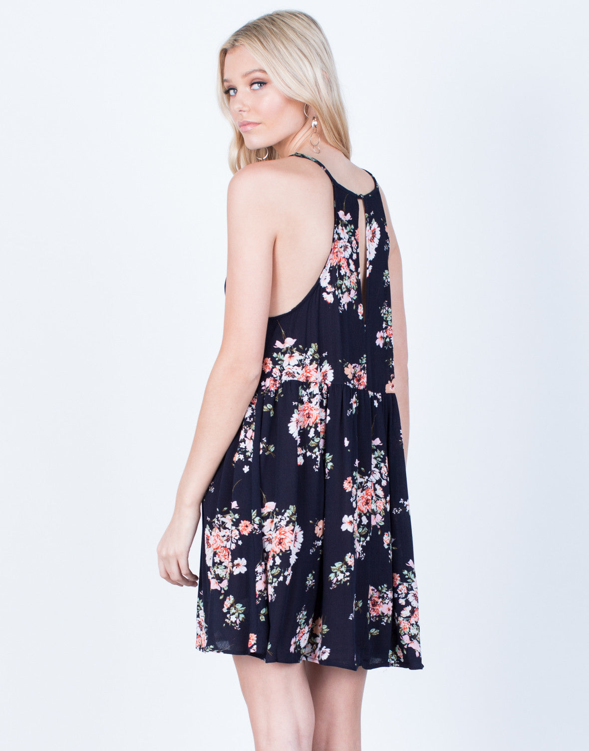 Back View of Pretty Floral Printed Dress