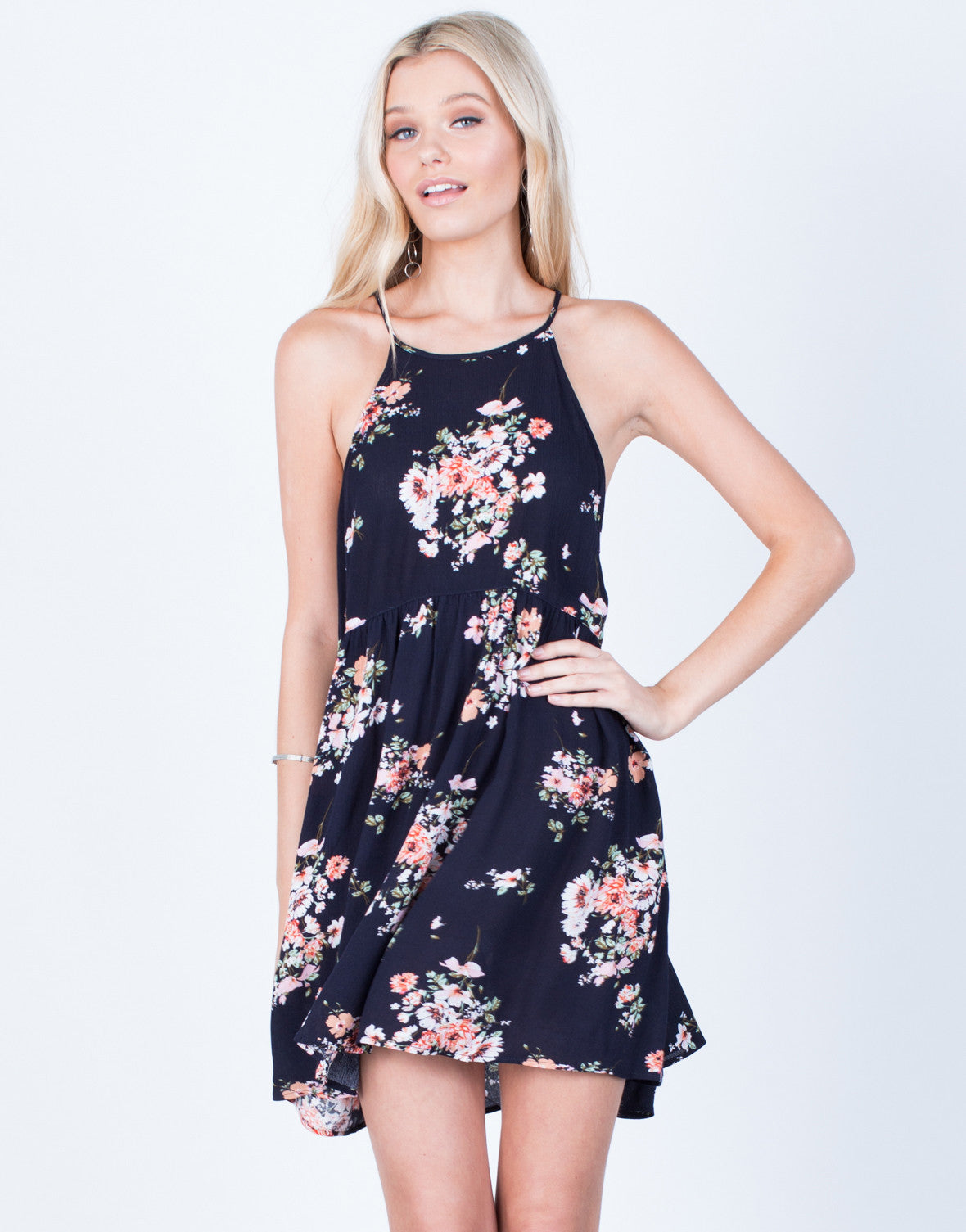 Front View of Pretty Floral Printed Dress