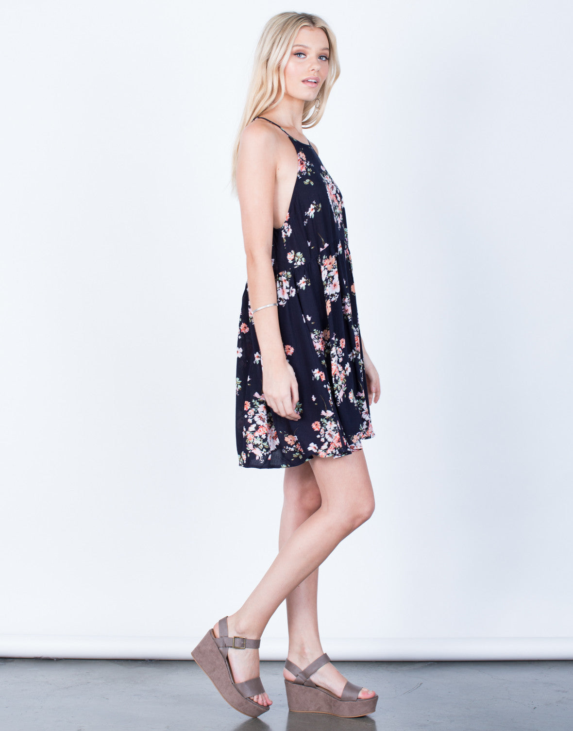 Side View of Pretty Floral Printed Dress