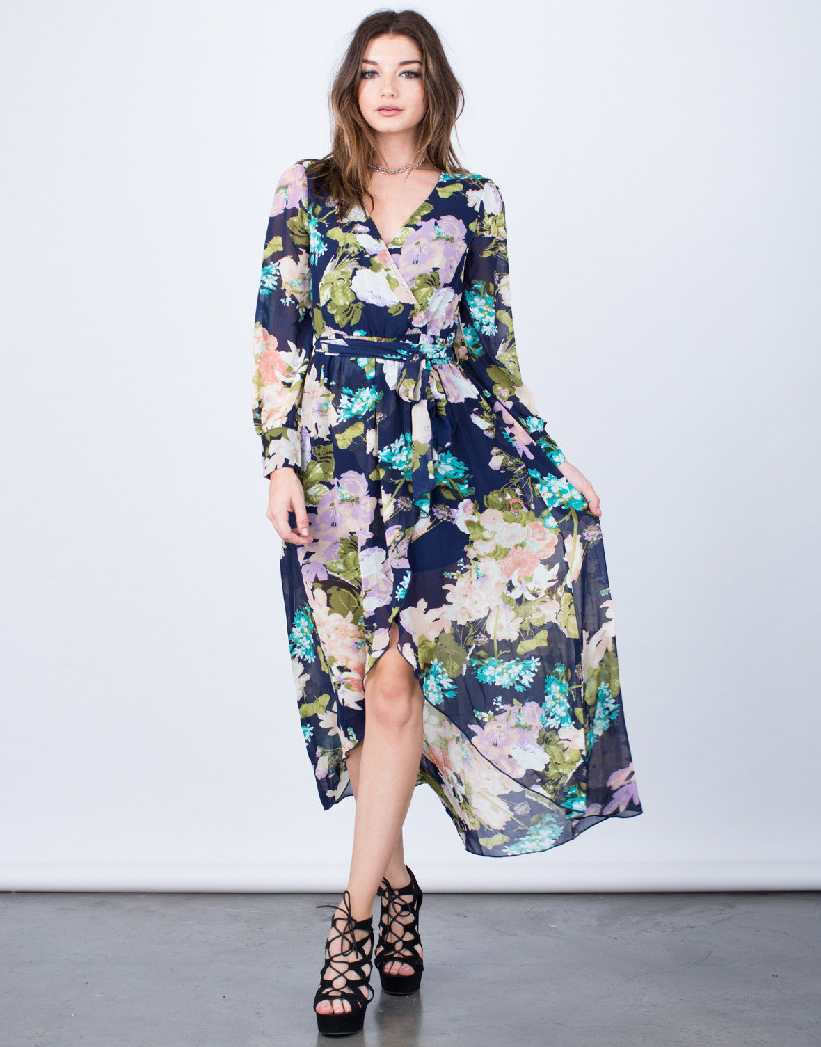 Front View of Pretty Floral Wrap Dress
