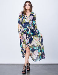 Pretty Floral Wrap Dress