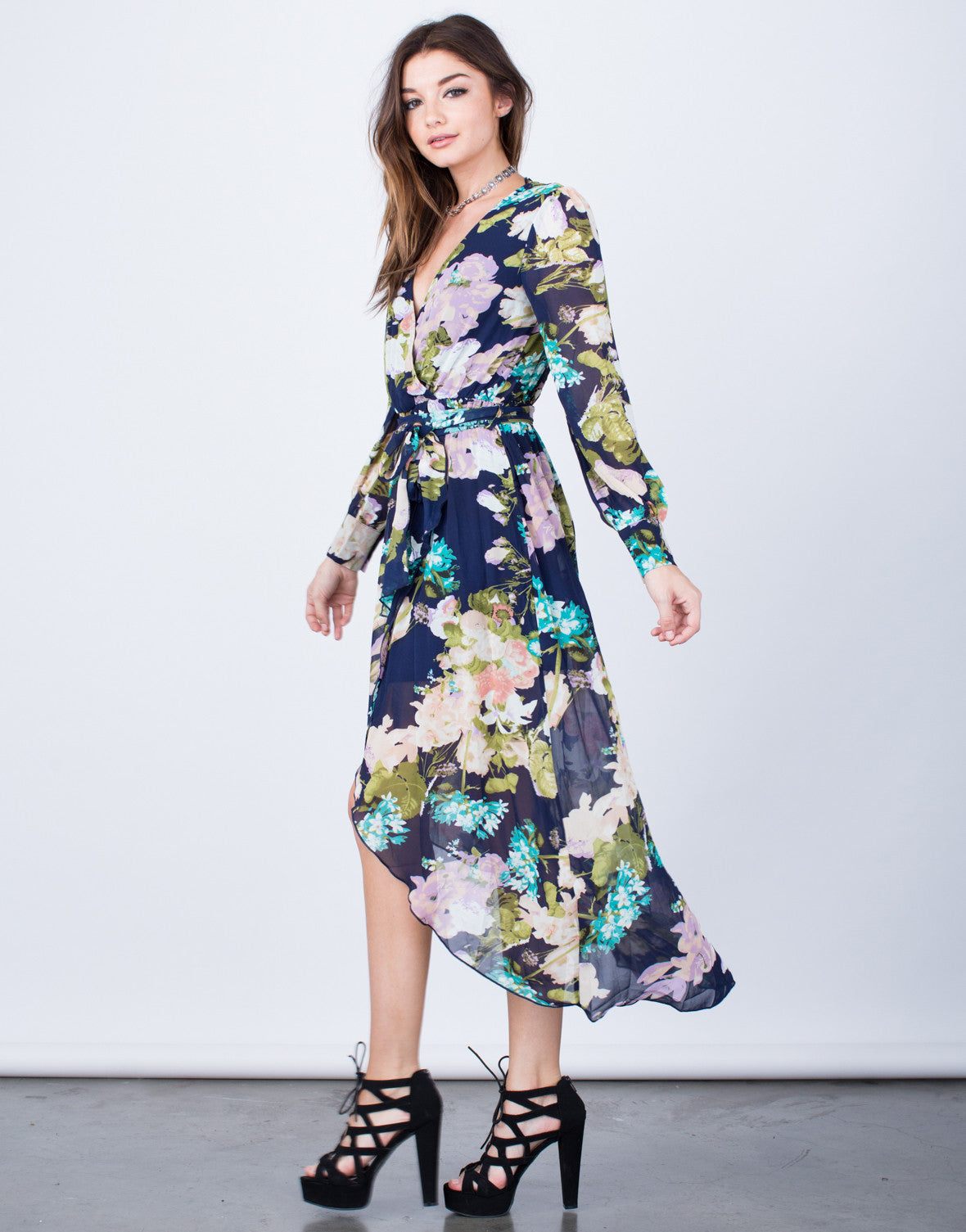 Side View of Pretty Floral Wrap Dress