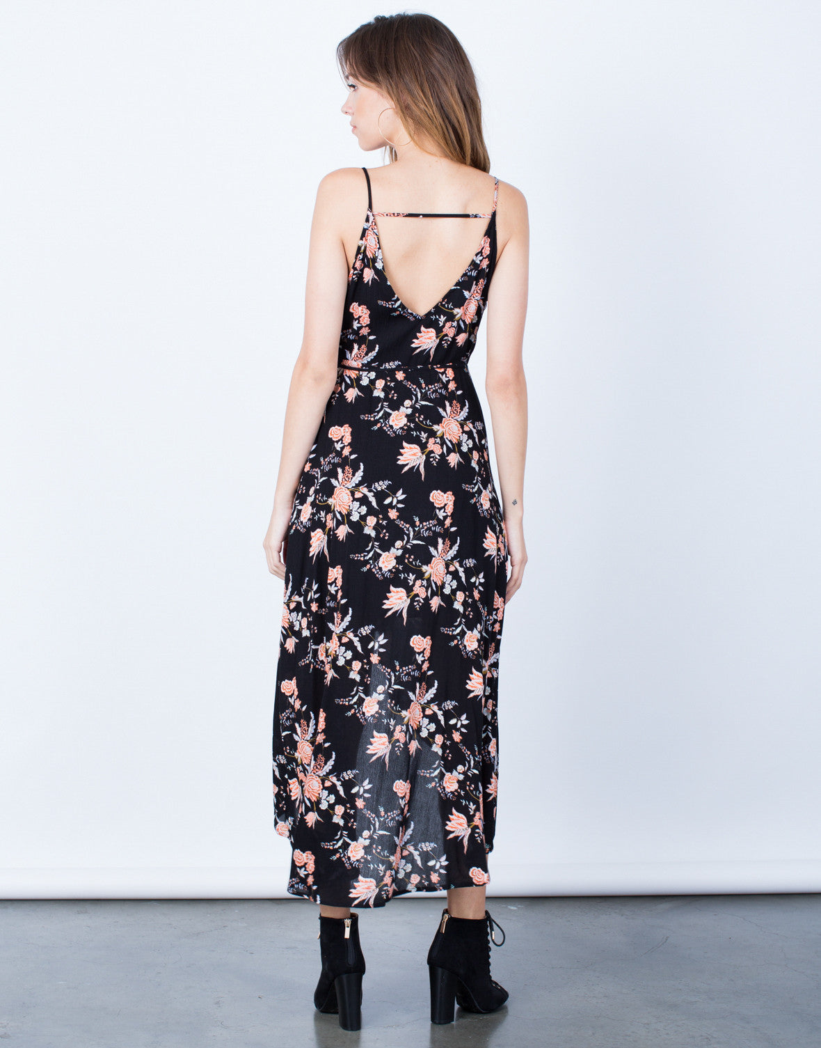 Back View of Pretty Florals Wrap Dress