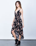 Side View of Pretty Florals Wrap Dress