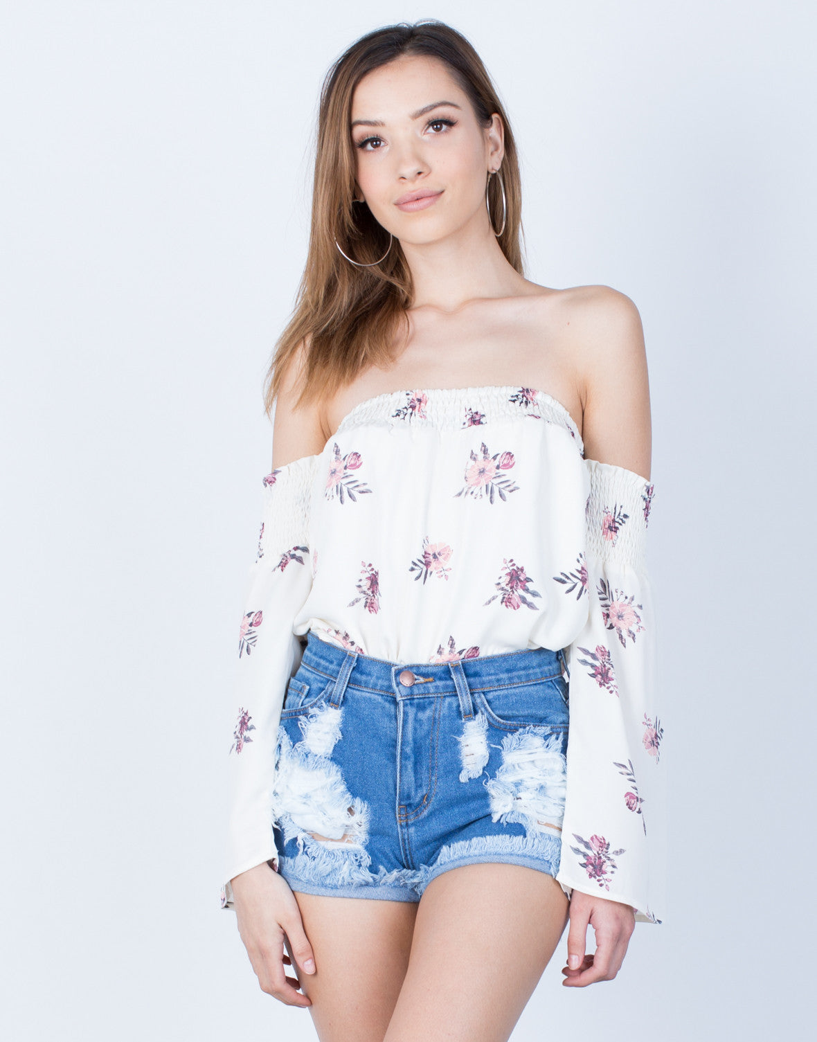 Front View of Pretty in Floral Top