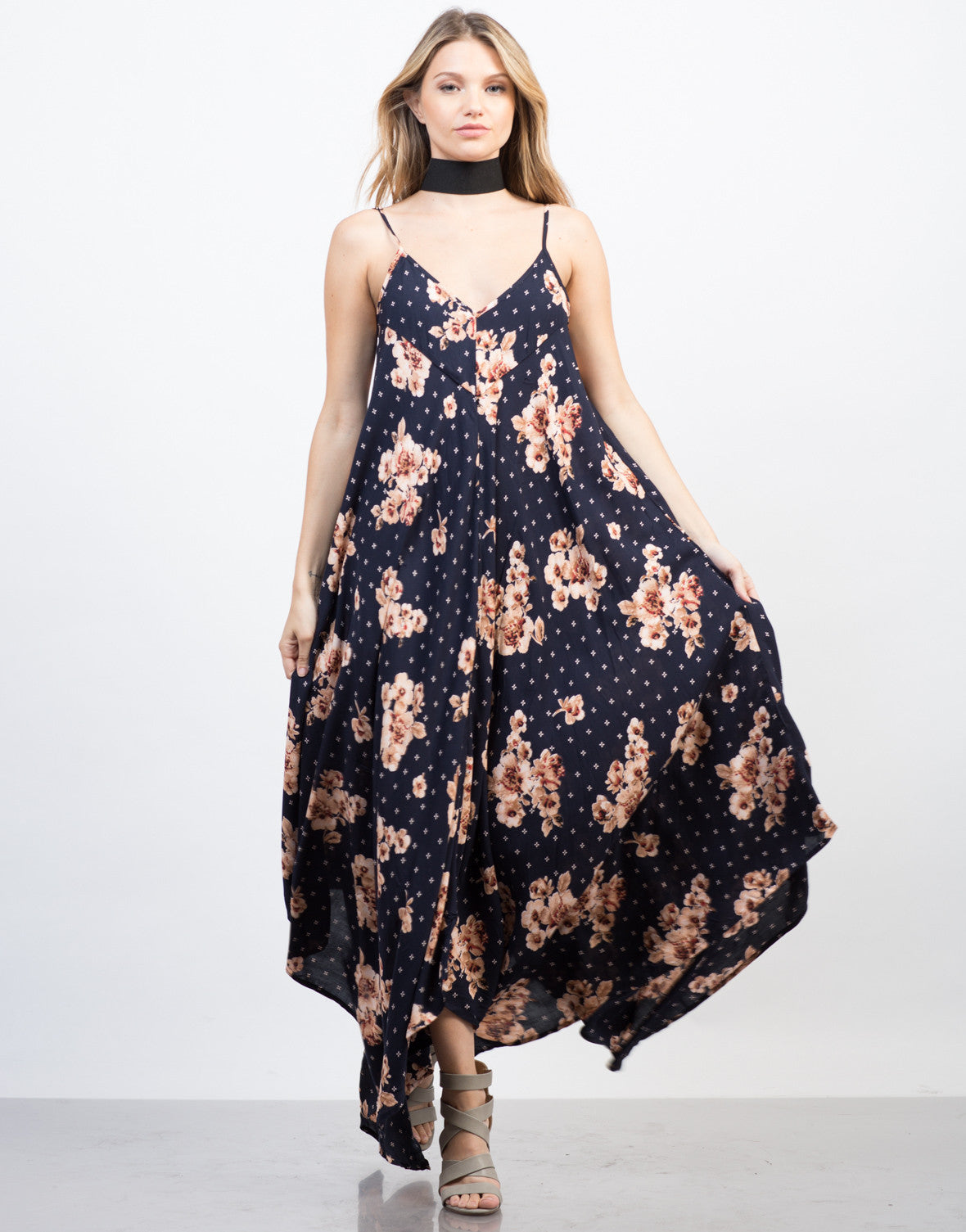 Front View of Pretty in Florals Maxi Dress