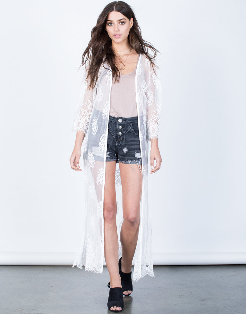White Pretty in Lace Duster - Front View