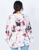 Light Pink Pretty Watercolor Cardigan - Back View