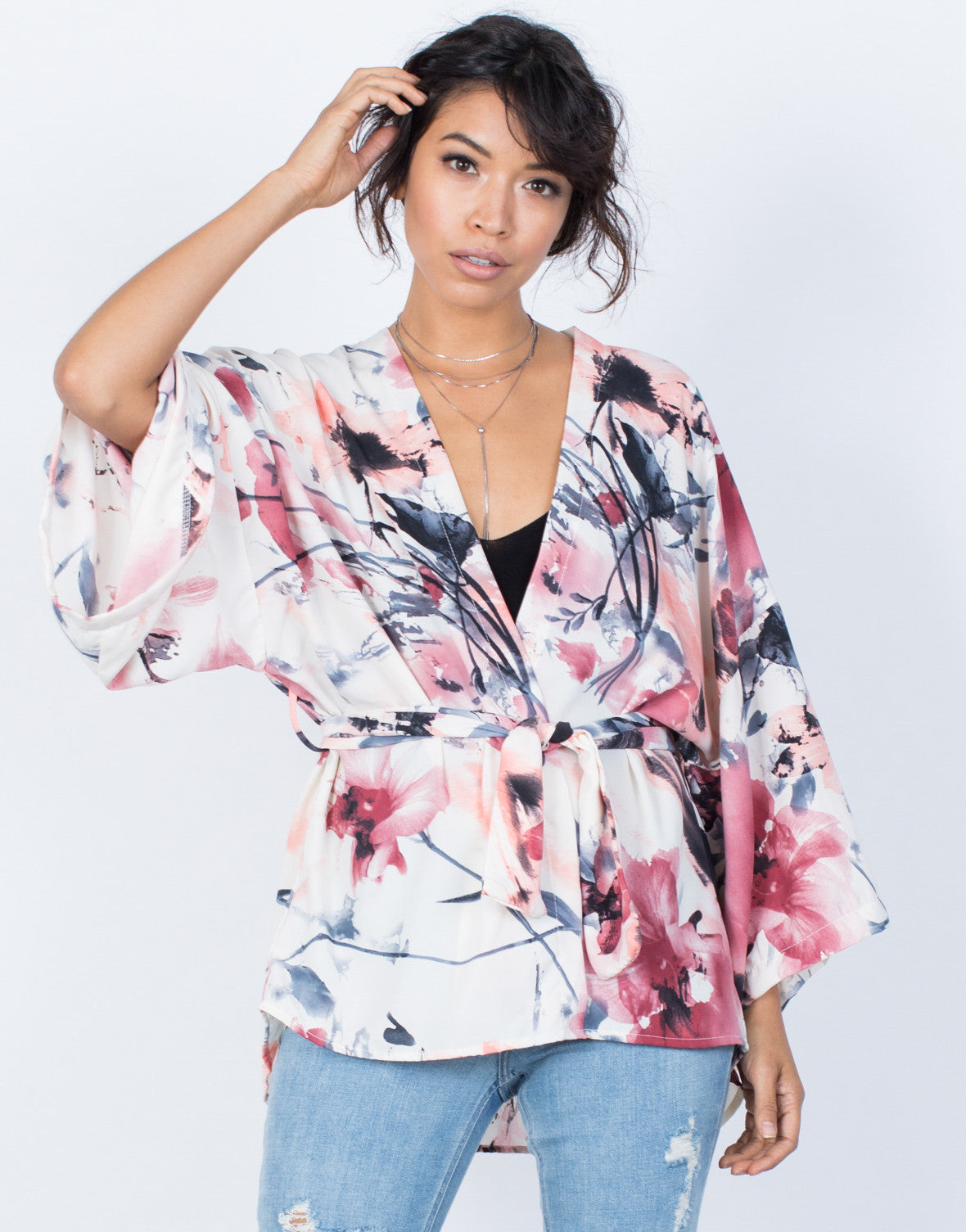 Light Pink Pretty Watercolor Cardigan - Front Detail