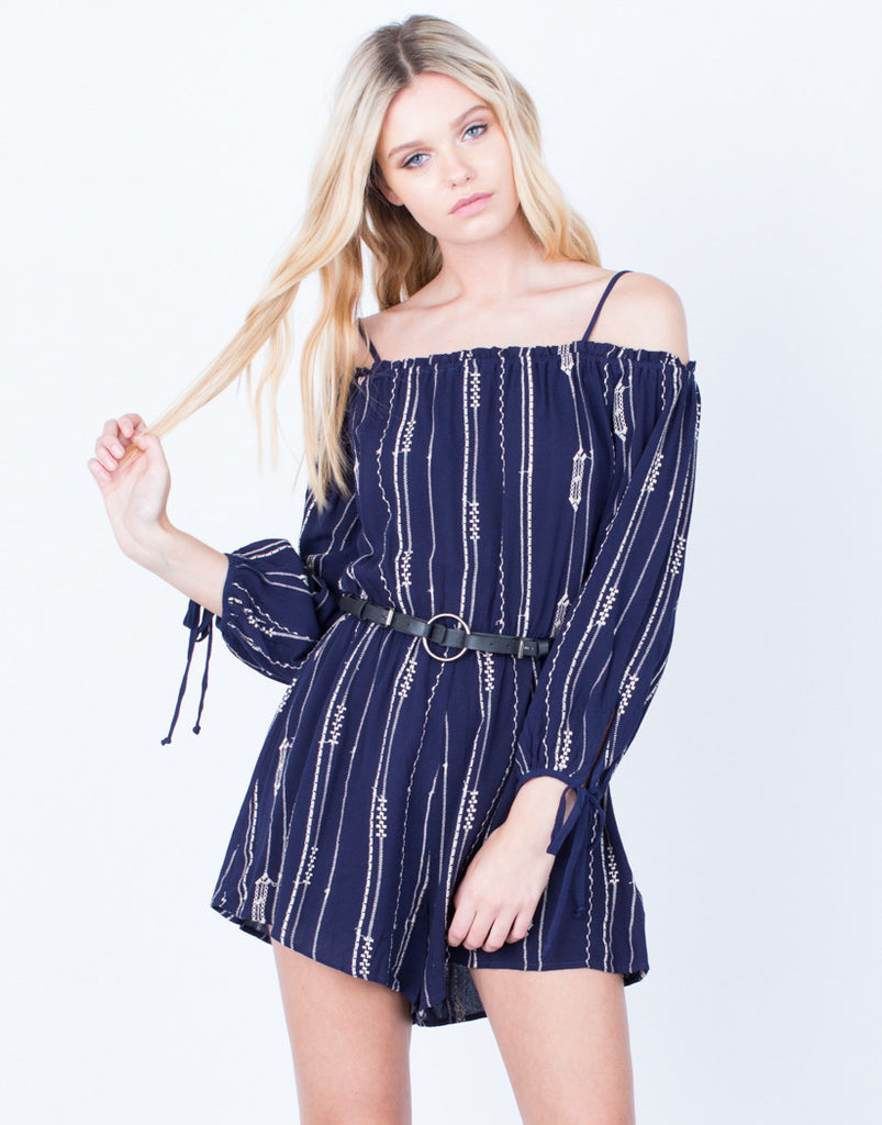 Front View of Printed Cold Shoulder Romper