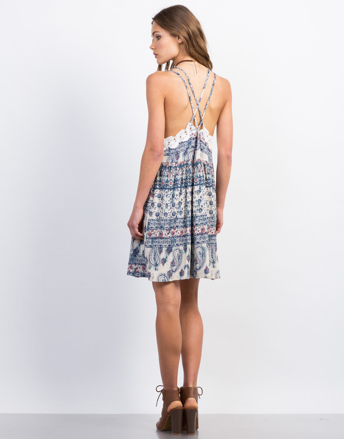 Back View of Printed Criss Cross Dress