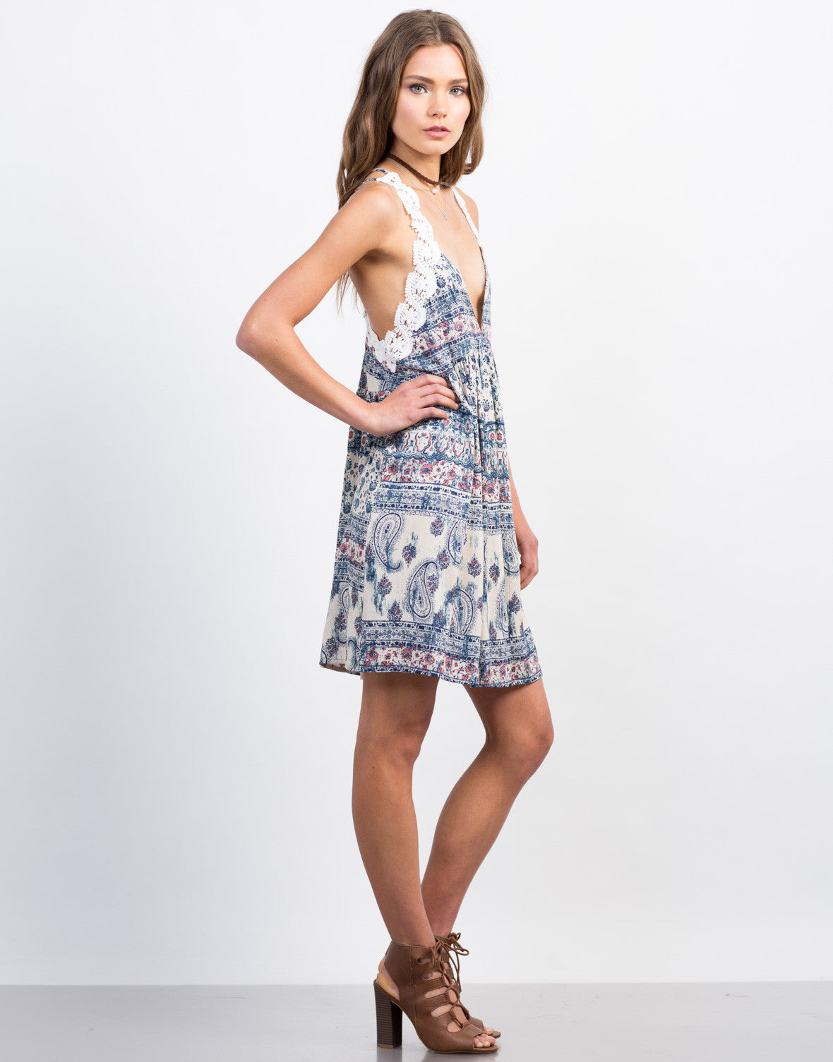 Side View of Printed Criss Cross Dress