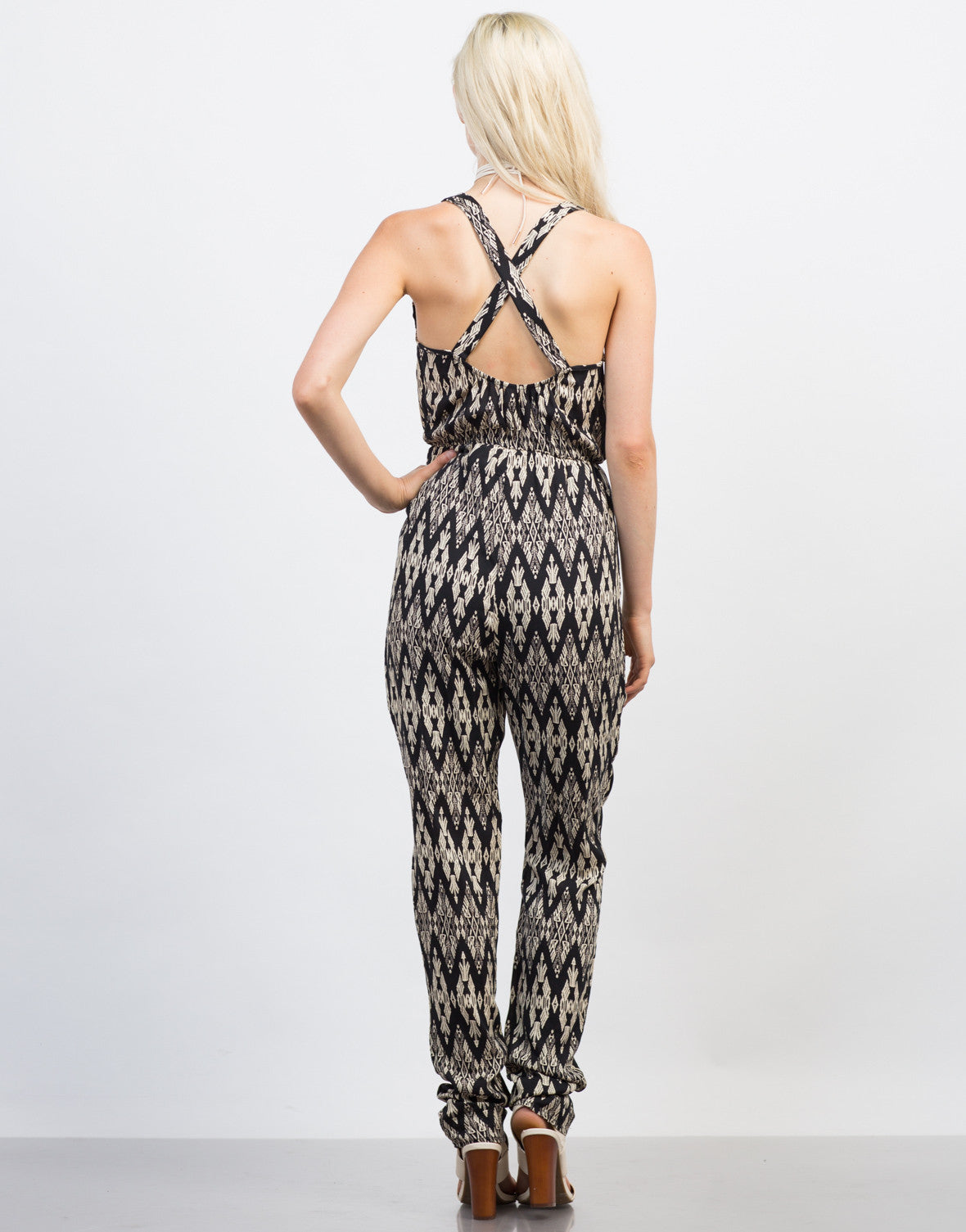 Back View of Printed Criss Cross Jumpsuit