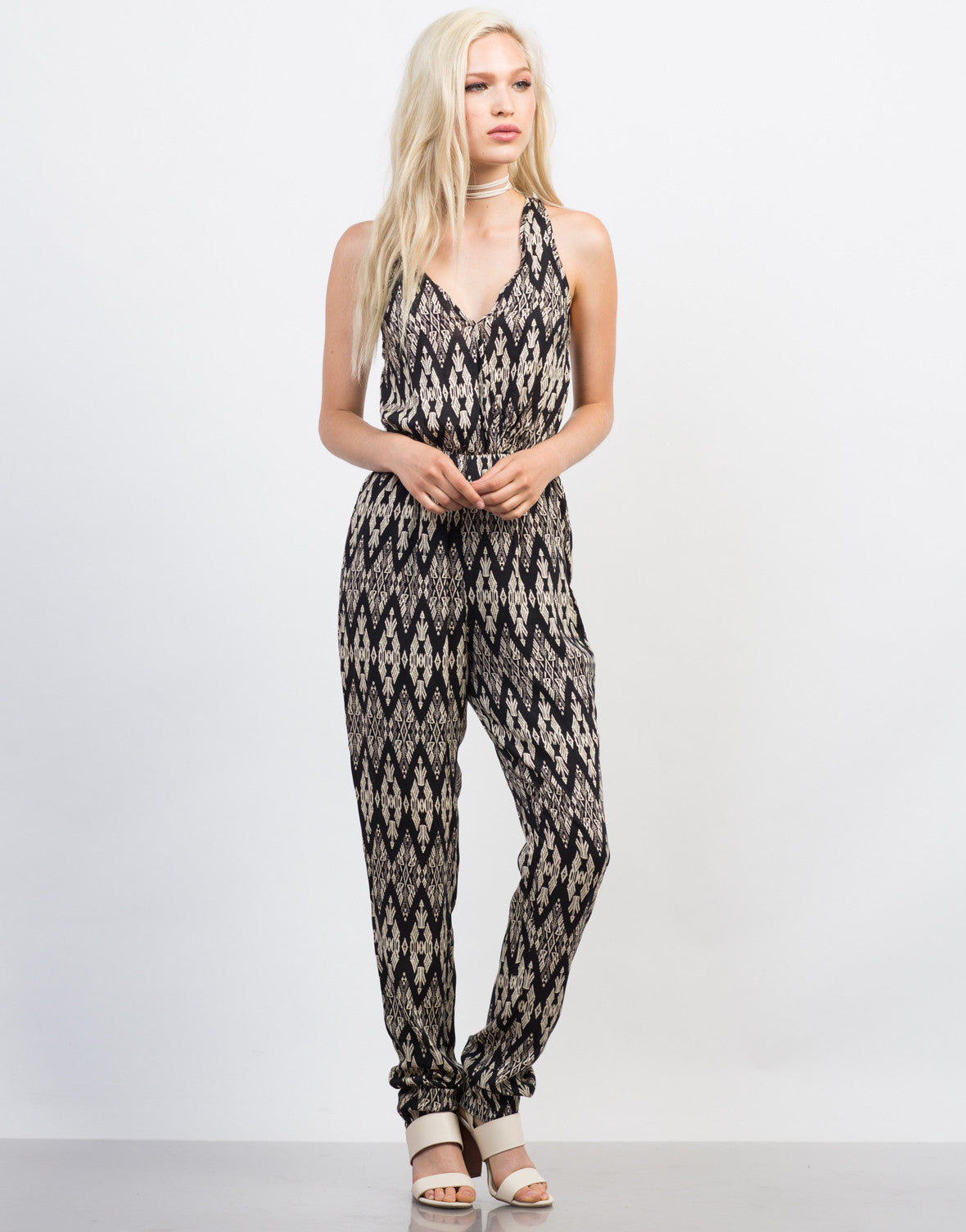 Front View of Printed Criss Cross Jumpsuit