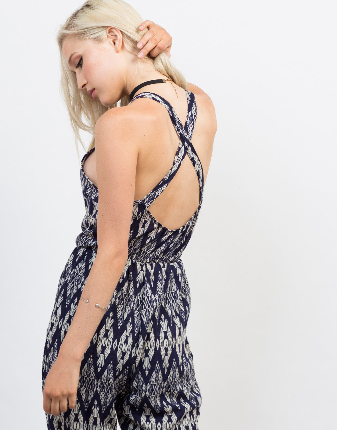 Detail of Printed Criss Cross Jumpsuit