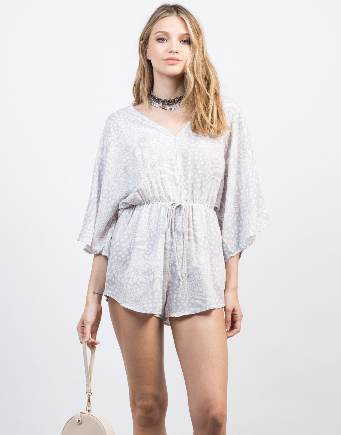 Front View of Printed Flowy Romper