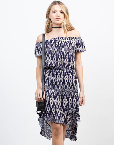 Front View of Printed Frilly Off-the-Shoulder Dress
