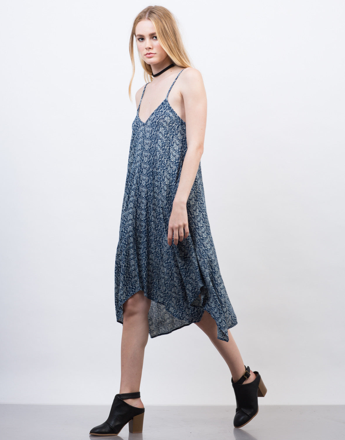 Side View of Printed Gauze Asymmetrical Dress