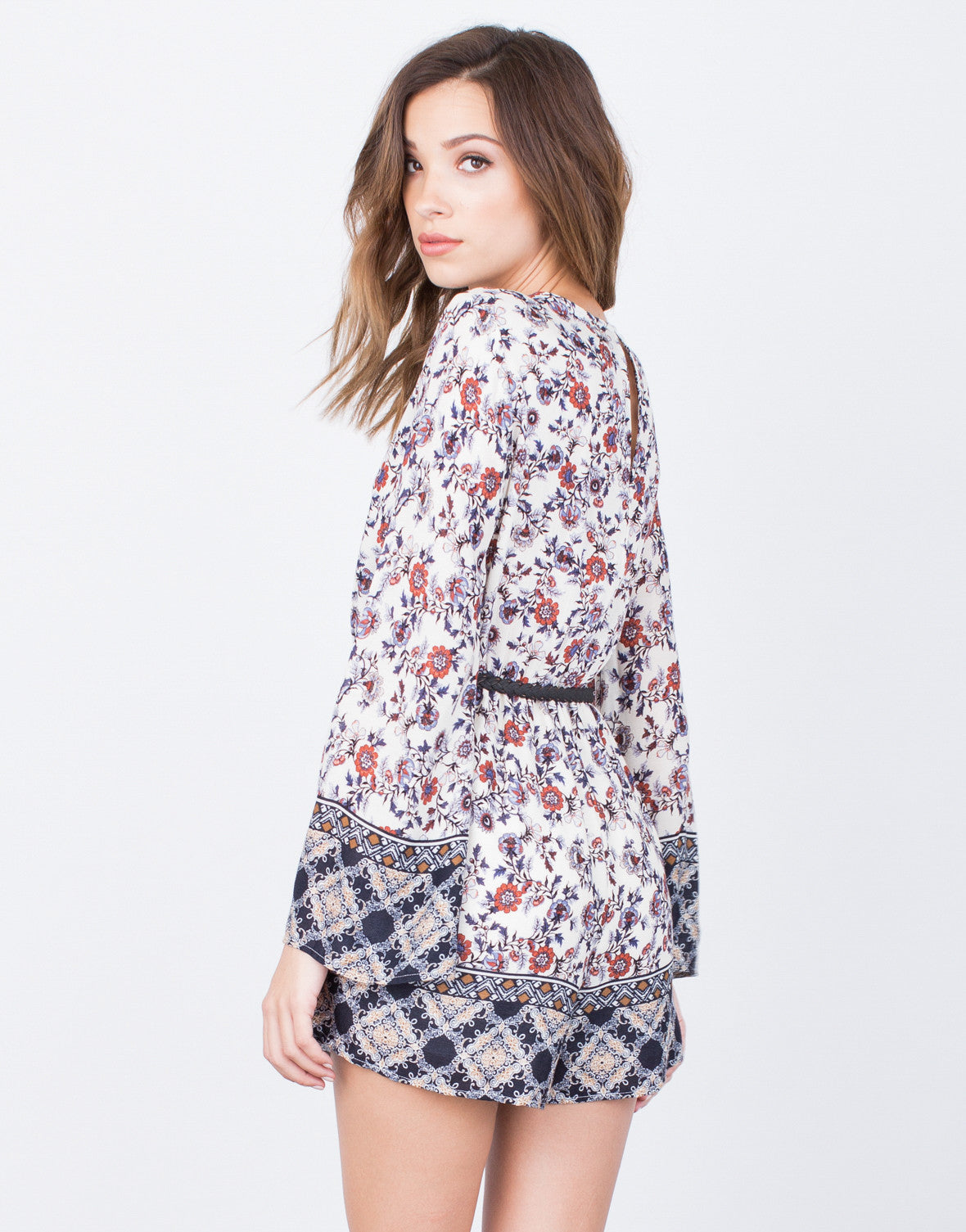 Back View of Printed Lace-Up Romper