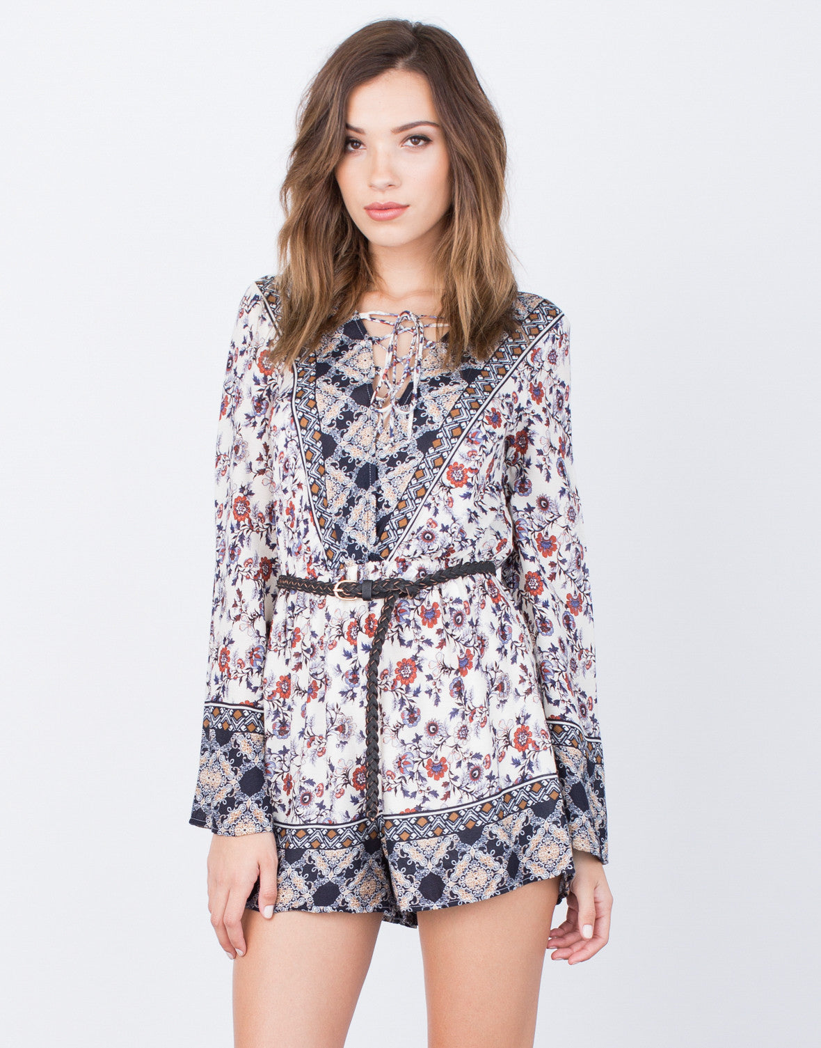 Front View of Printed Lace-Up Romper