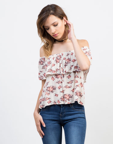 Front View of Printed Off-the-Shoulder Top