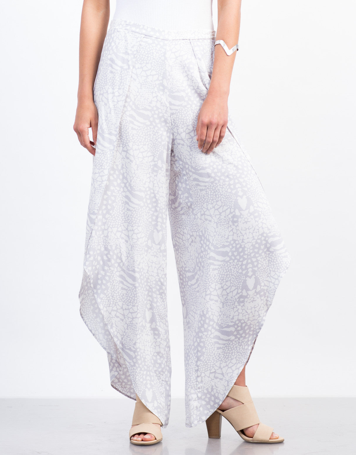 Front View of Printed Palazzo Pants