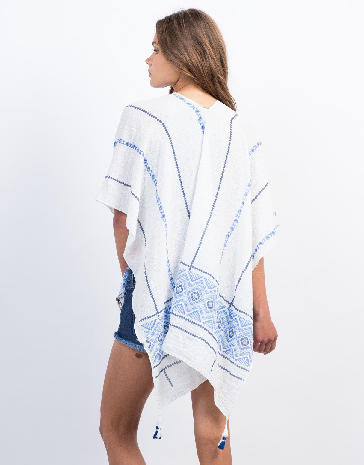 Back View of Printed Poncho Shawl