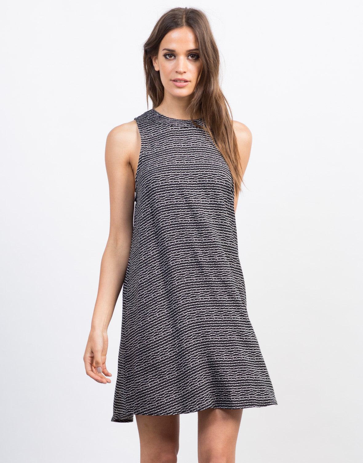 Front View of Printed Sleeveless Shift Dress