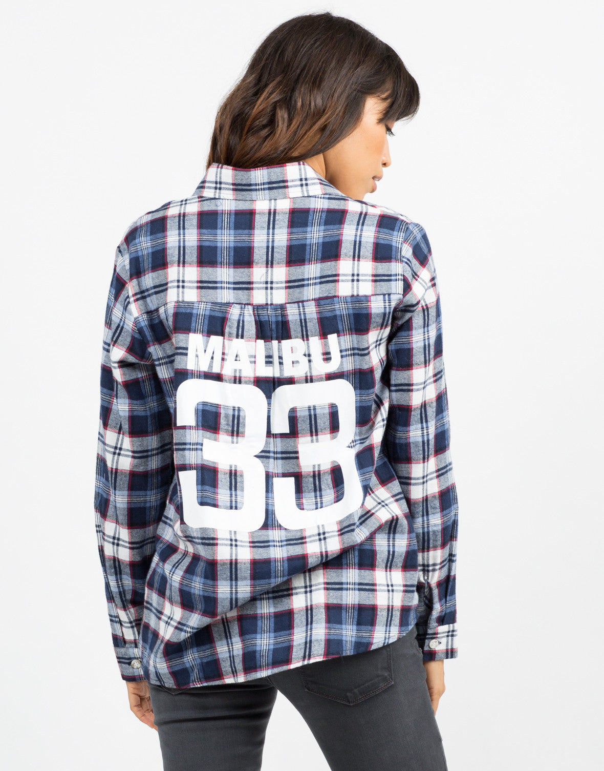 Back View of Printed Flannel Shirt