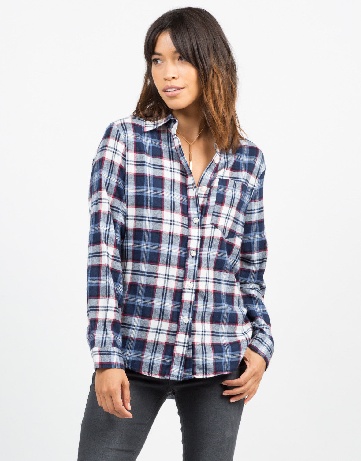 Front View of Printed Flannel Shirt