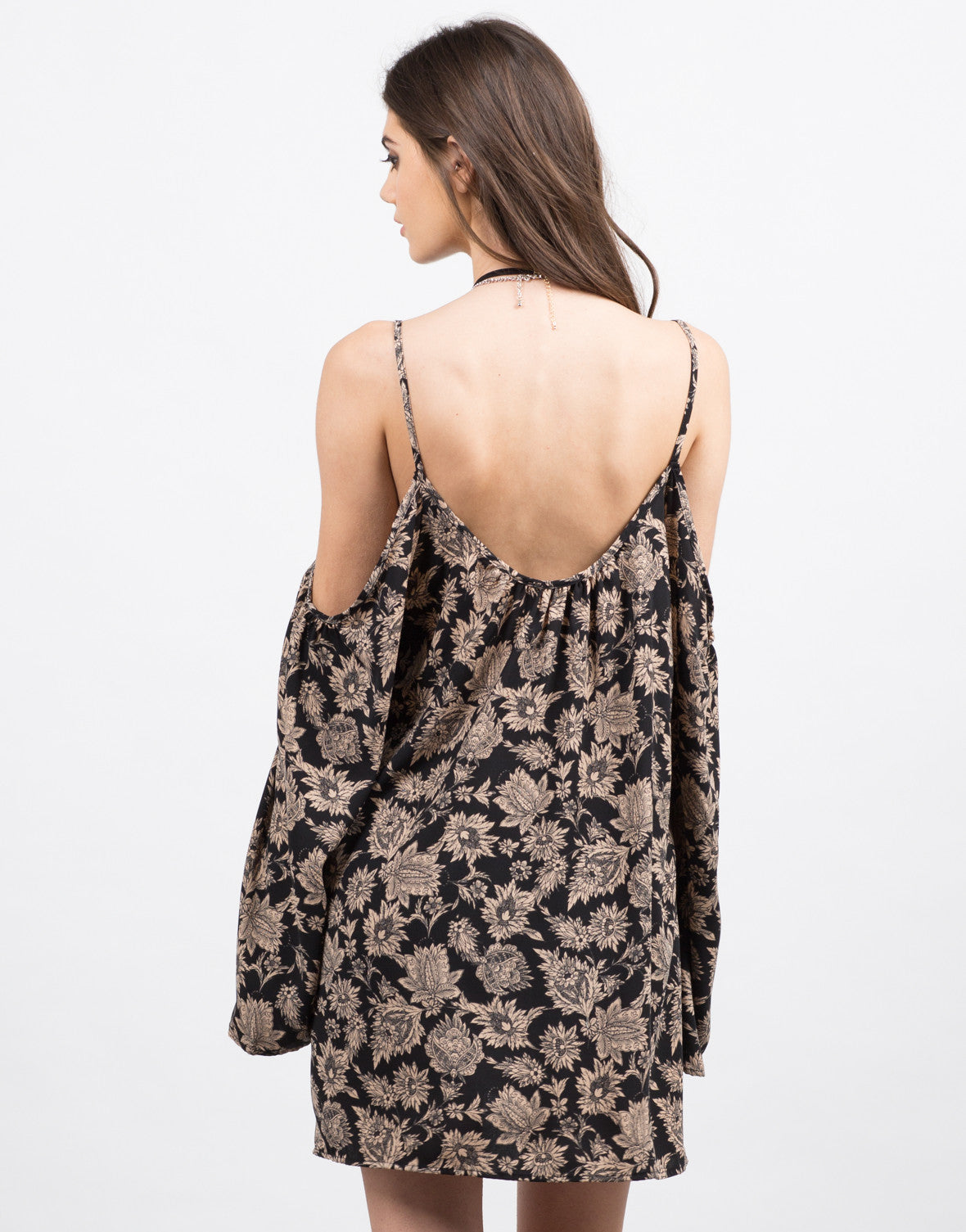 Back View of Printed Floral Dress