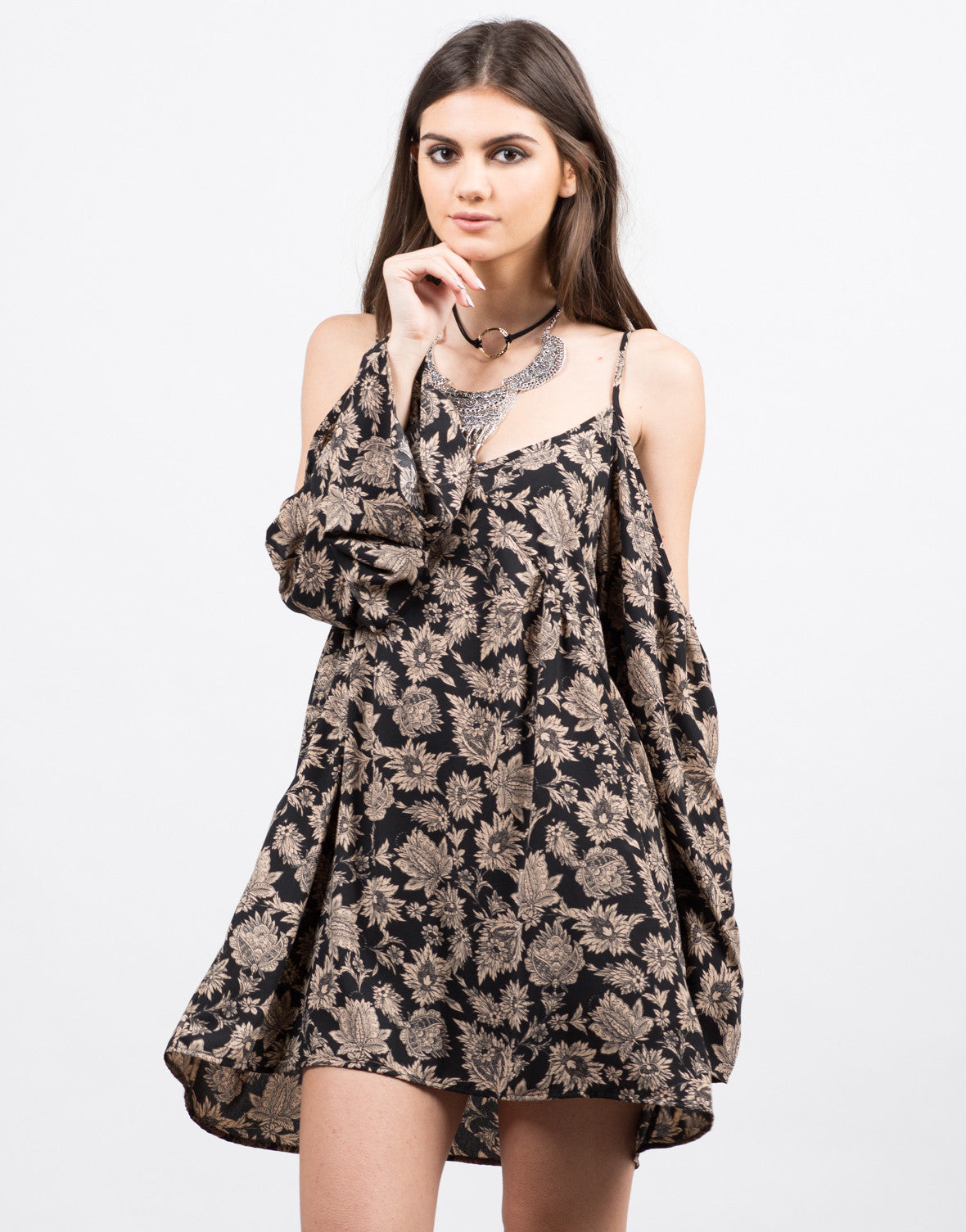 Front View of Printed Floral Dress