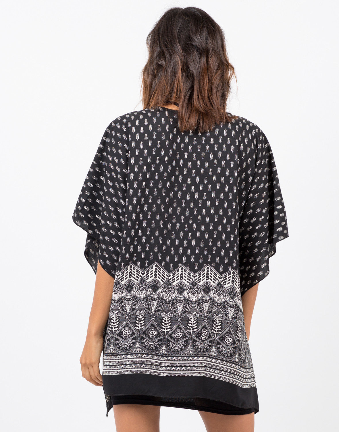 Back View of Printed Kimono Cardigan