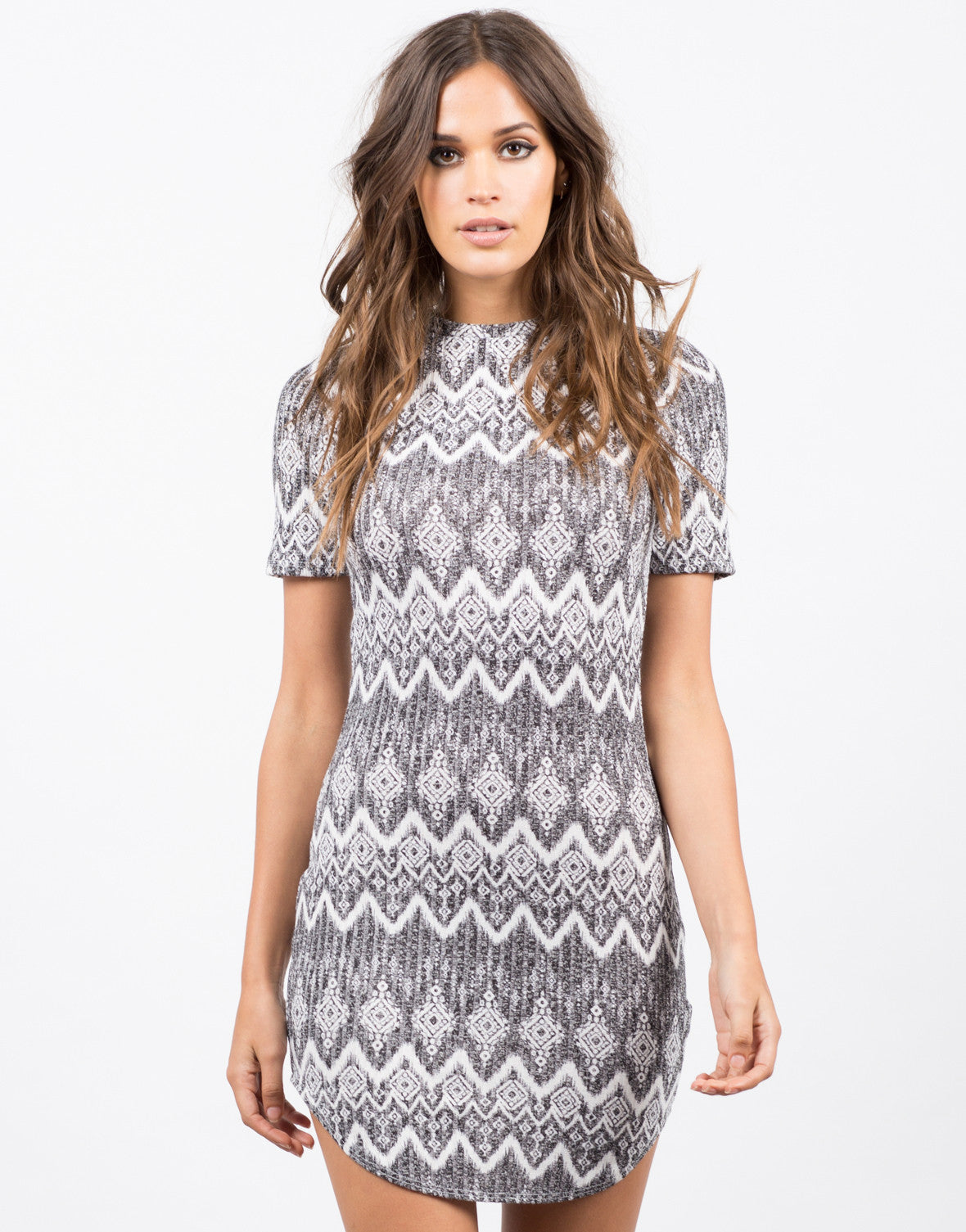 Front View of Printed Mock Neck Dress