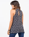 Back View of Printed Ribbed Top